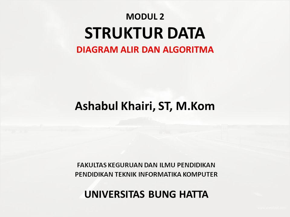MODUL 2 STRUKTUR DATA DIAGRAM ALIR DAN ALGORITMA Ashabul Khairi, ST, M.Kom FAKULTAS KEGURUAN DAN ILMU PENDIDIKAN PENDIDIKAN TEKNIK INFORMATIKA KOMPUTE