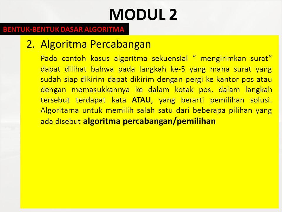 """MODUL 2 2.Algoritma Percabangan Pada contoh kasus algoritma sekuensial """" mengirimkan surat"""" dapat dilihat bahwa pada langkah ke-5 yang mana surat yang"""