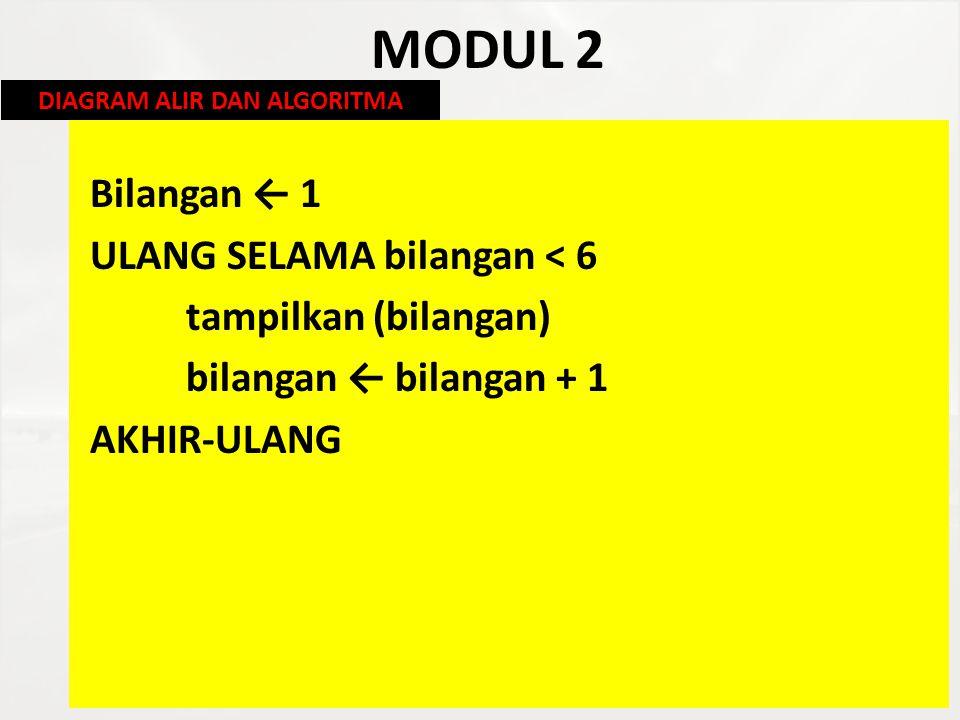 MODUL 2 Bilangan ← 1 ULANG SELAMA bilangan < 6 tampilkan (bilangan) bilangan ← bilangan + 1 AKHIR-ULANG DIAGRAM ALIR DAN ALGORITMA