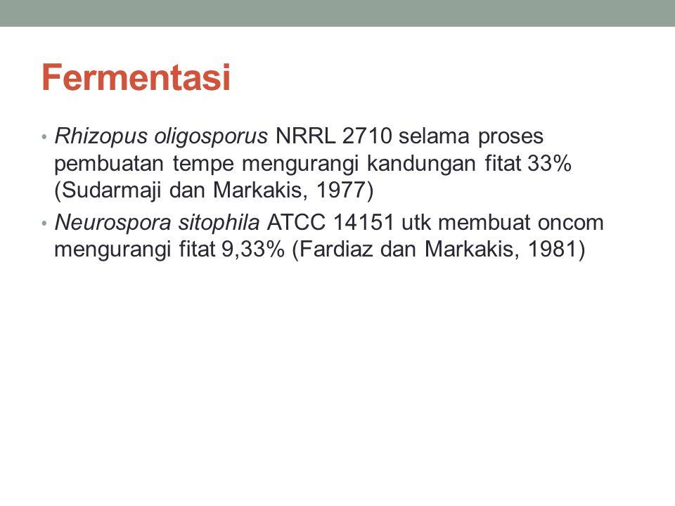 Fermentasi Rhizopus oligosporus NRRL 2710 selama proses pembuatan tempe mengurangi kandungan fitat 33% (Sudarmaji dan Markakis, 1977) Neurospora sitop