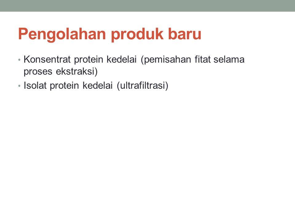 Pengolahan produk baru Konsentrat protein kedelai (pemisahan fitat selama proses ekstraksi) Isolat protein kedelai (ultrafiltrasi)
