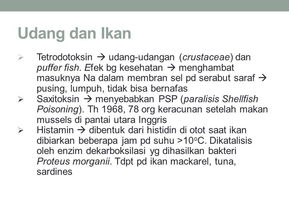 Udang dan Ikan  Tetrodotoksin  udang-udangan (crustaceae) dan puffer fish. Efek bg kesehatan  menghambat masuknya Na dalam membran sel pd serabut s