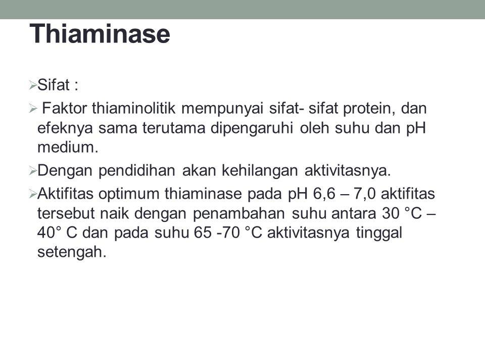 Thiaminase  Sifat :  Faktor thiaminolitik mempunyai sifat- sifat protein, dan efeknya sama terutama dipengaruhi oleh suhu dan pH medium.  Dengan pe