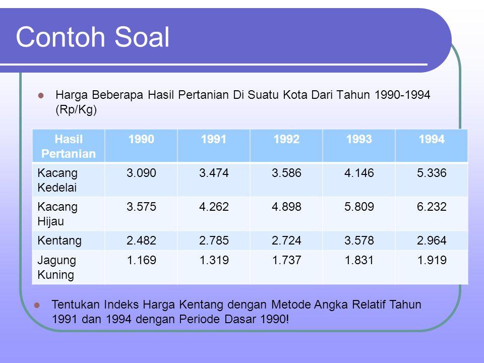 Contoh Soal Harga Beberapa Hasil Pertanian Di Suatu Kota Dari Tahun 1990-1994 (Rp/Kg) Hasil Pertanian 19901991199219931994 Kacang Kedelai 3.0903.4743.