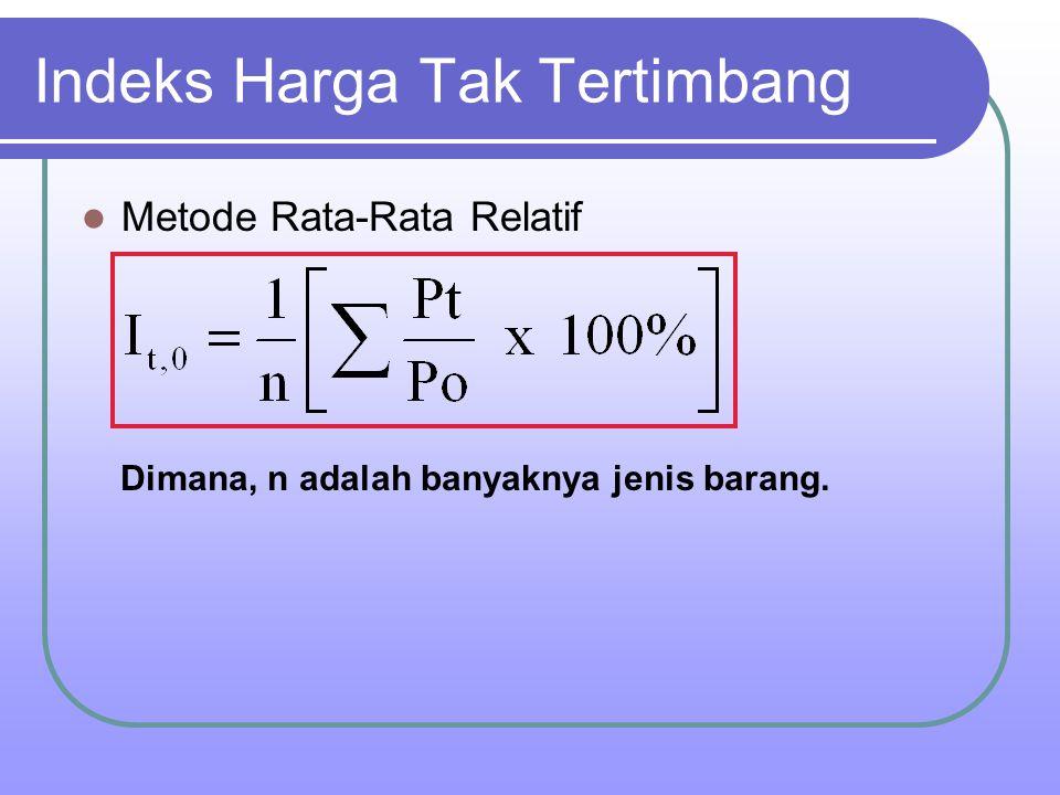 Indeks Harga Tak Tertimbang Metode Rata-Rata Relatif Dimana, n adalah banyaknya jenis barang.