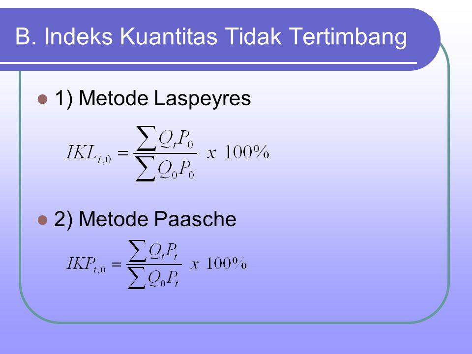 B. Indeks Kuantitas Tidak Tertimbang 1) Metode Laspeyres 2) Metode Paasche