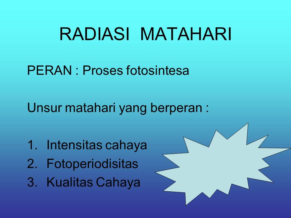 RADIASI MATAHARI PERAN : Proses fotosintesa Unsur matahari yang berperan : 1.Intensitas cahaya 2.Fotoperiodisitas 3.Kualitas Cahaya