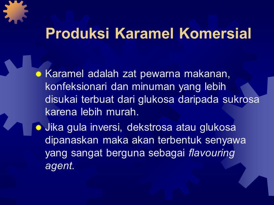 Produksi Karamel Komersial  Karamel adalah zat pewarna makanan, konfeksionari dan minuman yang lebih disukai terbuat dari glukosa daripada sukrosa ka