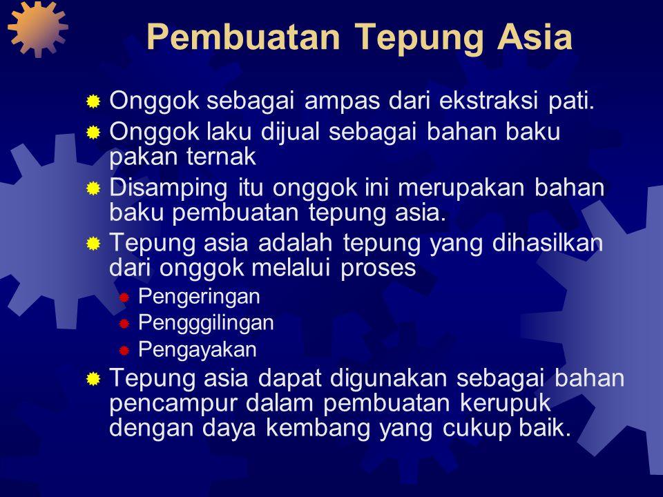 Pembuatan Tepung Asia  Onggok sebagai ampas dari ekstraksi pati.  Onggok laku dijual sebagai bahan baku pakan ternak  Disamping itu onggok ini meru