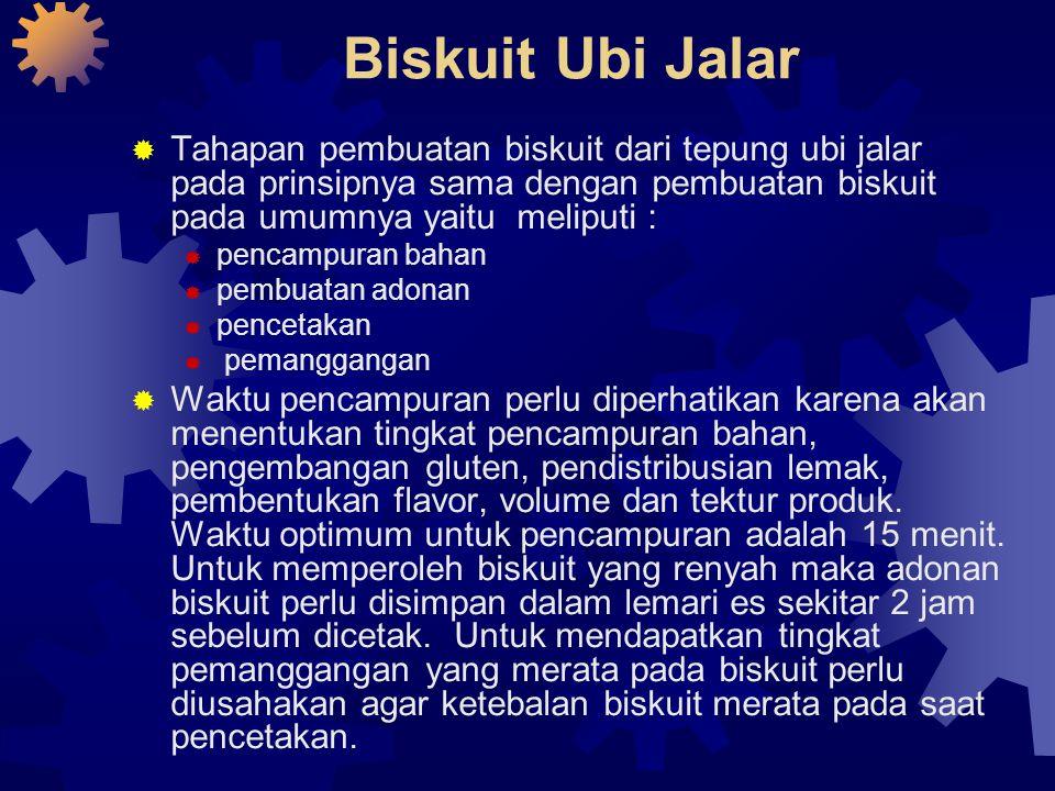 Biskuit Ubi Jalar  Tahapan pembuatan biskuit dari tepung ubi jalar pada prinsipnya sama dengan pembuatan biskuit pada umumnya yaitu meliputi :  penc