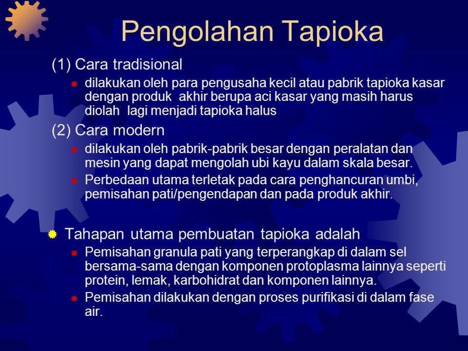 Pengolahan Tapioka (1) Cara tradisional  dilakukan oleh para pengusaha kecil atau pabrik tapioka kasar dengan produk akhir berupa aci kasar yang masi