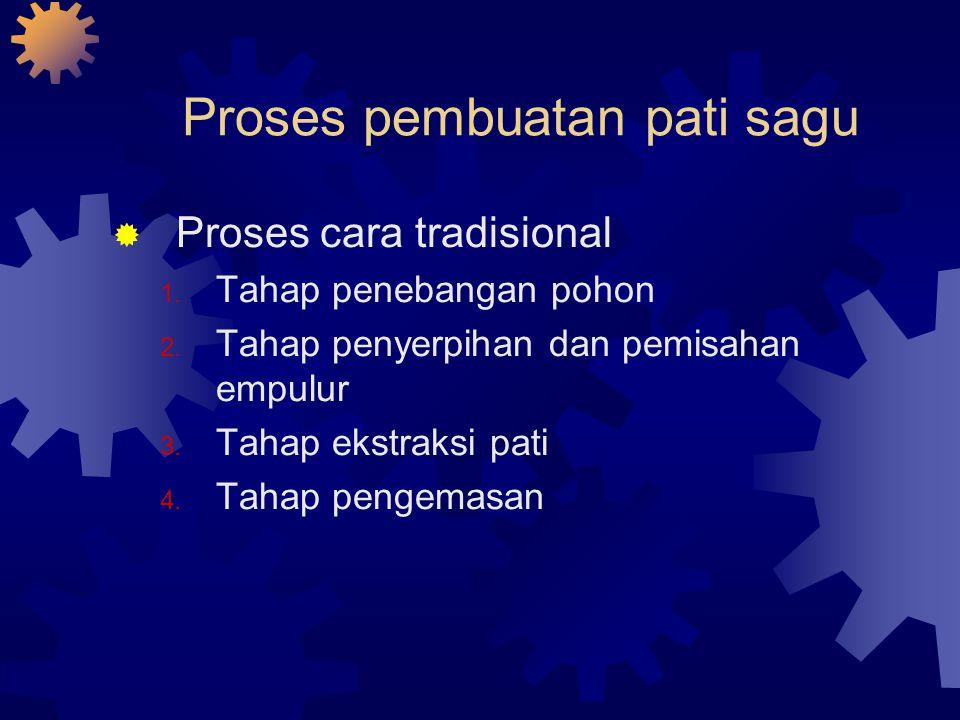 Proses pembuatan pati sagu  Proses cara tradisional 1. Tahap penebangan pohon 2. Tahap penyerpihan dan pemisahan empulur 3. Tahap ekstraksi pati 4. T