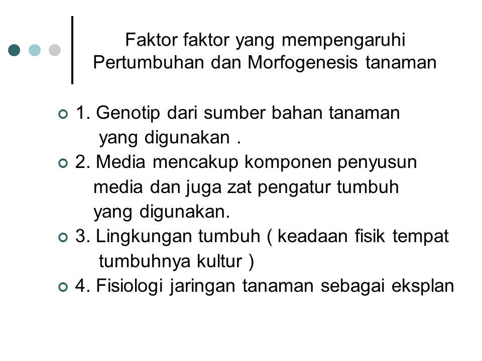 Faktor faktor yang mempengaruhi Pertumbuhan dan Morfogenesis tanaman 1. Genotip dari sumber bahan tanaman yang digunakan. 2. Media mencakup komponen p