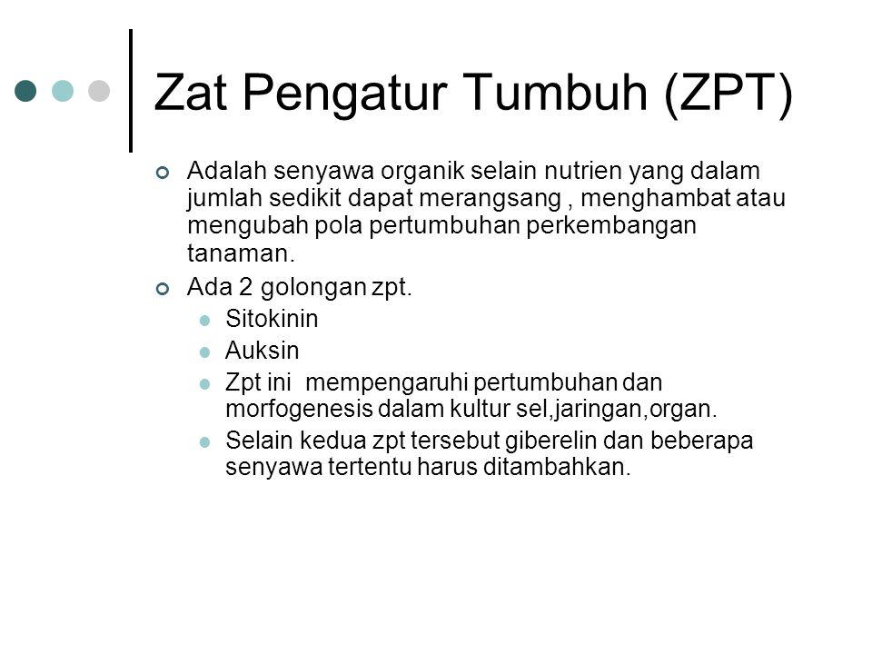 Zat Pengatur Tumbuh (ZPT) Adalah senyawa organik selain nutrien yang dalam jumlah sedikit dapat merangsang, menghambat atau mengubah pola pertumbuhan