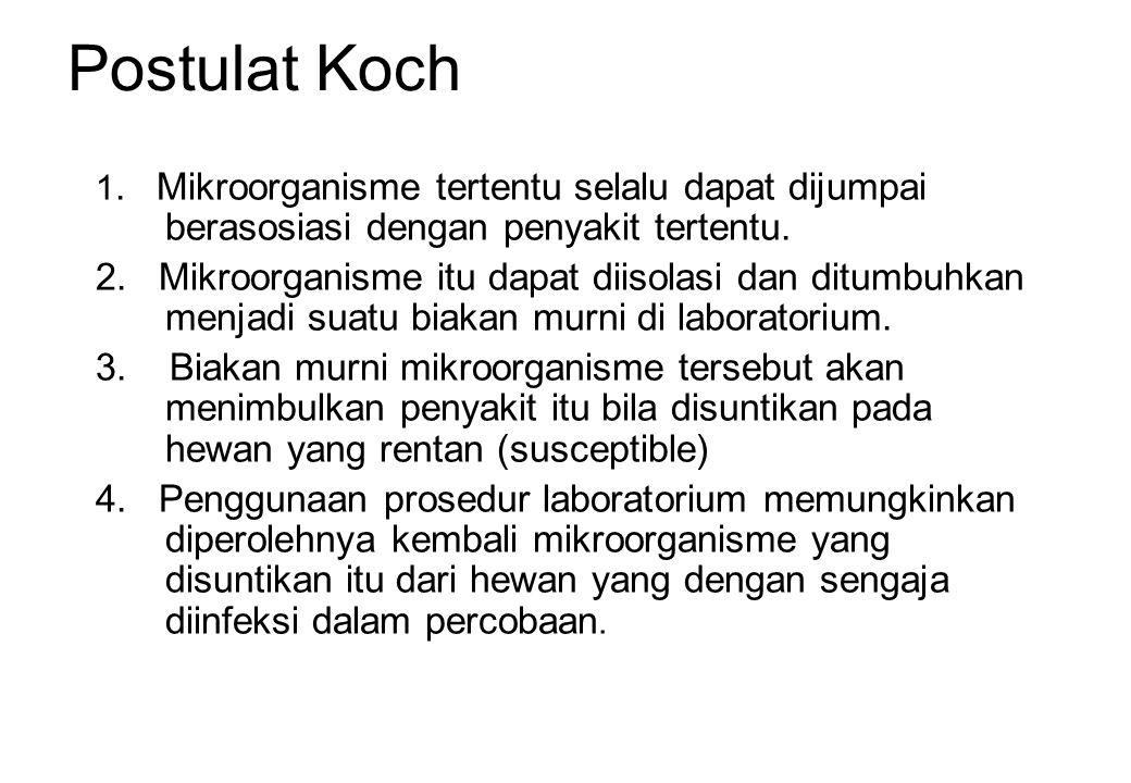 Postulat Koch 1. Mikroorganisme tertentu selalu dapat dijumpai berasosiasi dengan penyakit tertentu. 2. Mikroorganisme itu dapat diisolasi dan ditumbu