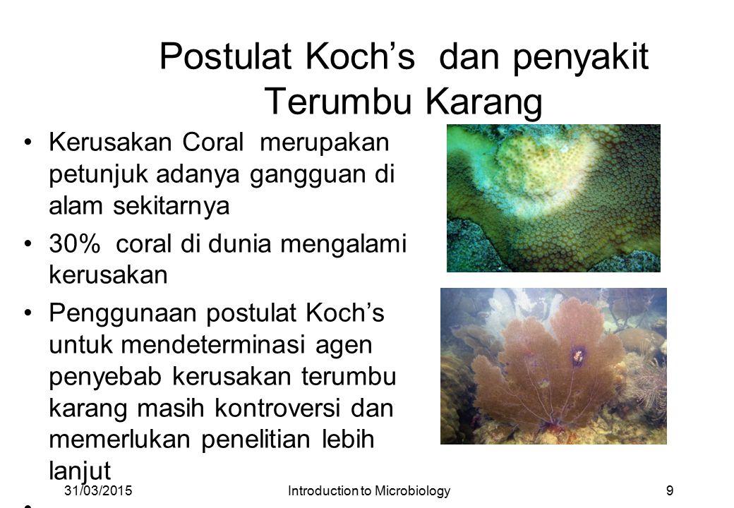 Postulat Koch's dan penyakit Terumbu Karang Kerusakan Coral merupakan petunjuk adanya gangguan di alam sekitarnya 30% coral di dunia mengalami kerusakan Penggunaan postulat Koch's untuk mendeterminasi agen penyebab kerusakan terumbu karang masih kontroversi dan memerlukan penelitian lebih lanjut 31/03/20159Introduction to Microbiology