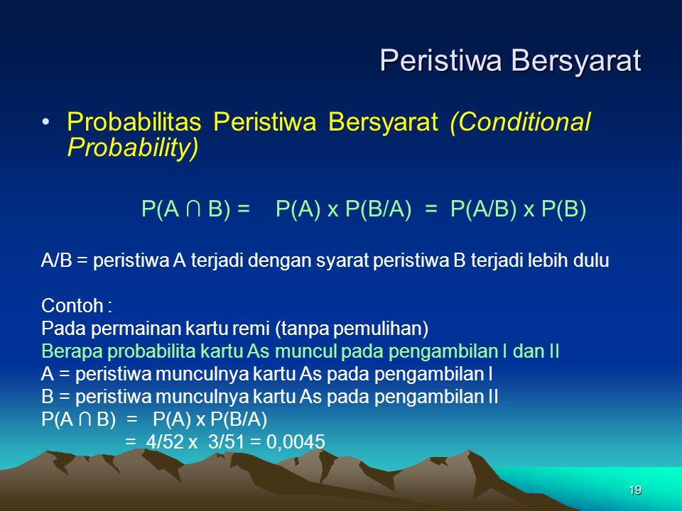 19 Peristiwa Bersyarat Probabilitas Peristiwa Bersyarat (Conditional Probability) P(A ∩ B) = P(A) x P(B/A) = P(A/B) x P(B) A/B = peristiwa A terjadi d