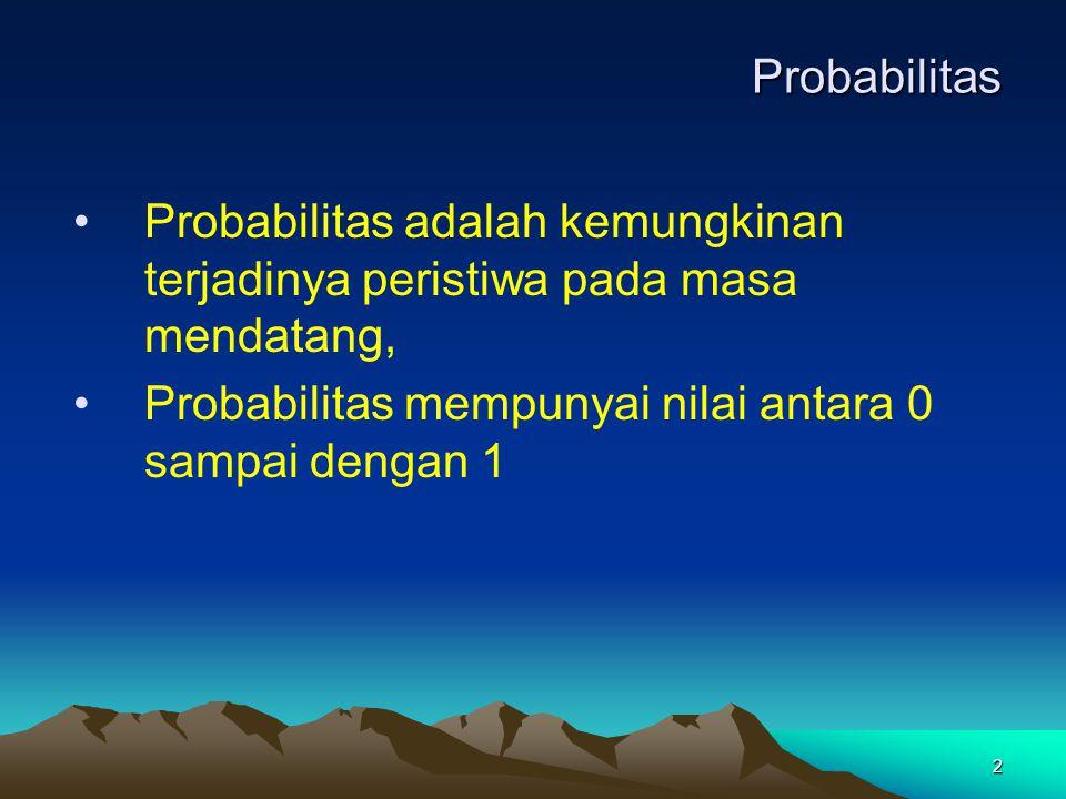 2 Probabilitas Probabilitas adalah kemungkinan terjadinya peristiwa pada masa mendatang, Probabilitas mempunyai nilai antara 0 sampai dengan 1