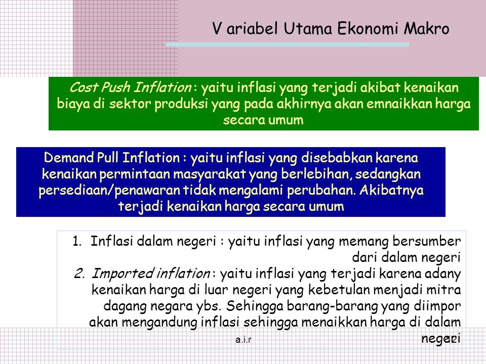 a.i.r12 V ariabel Utama Ekonomi Makro Cost Push Inflation : yaitu inflasi yang terjadi akibat kenaikan biaya di sektor produksi yang pada akhirnya akan emnaikkan harga secara umum Demand Pull Inflation : yaitu inflasi yang disebabkan karena kenaikan permintaan masyarakat yang berlebihan, sedangkan persediaan/penawaran tidak mengalami perubahan.