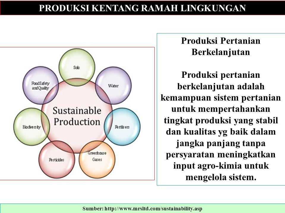 PRODUKSI KENTANG RAMAH LINGKUNGAN Produksi Pertanian Berkelanjutan Produksi pertanian berkelanjutan adalah kemampuan sistem pertanian untuk mempertaha