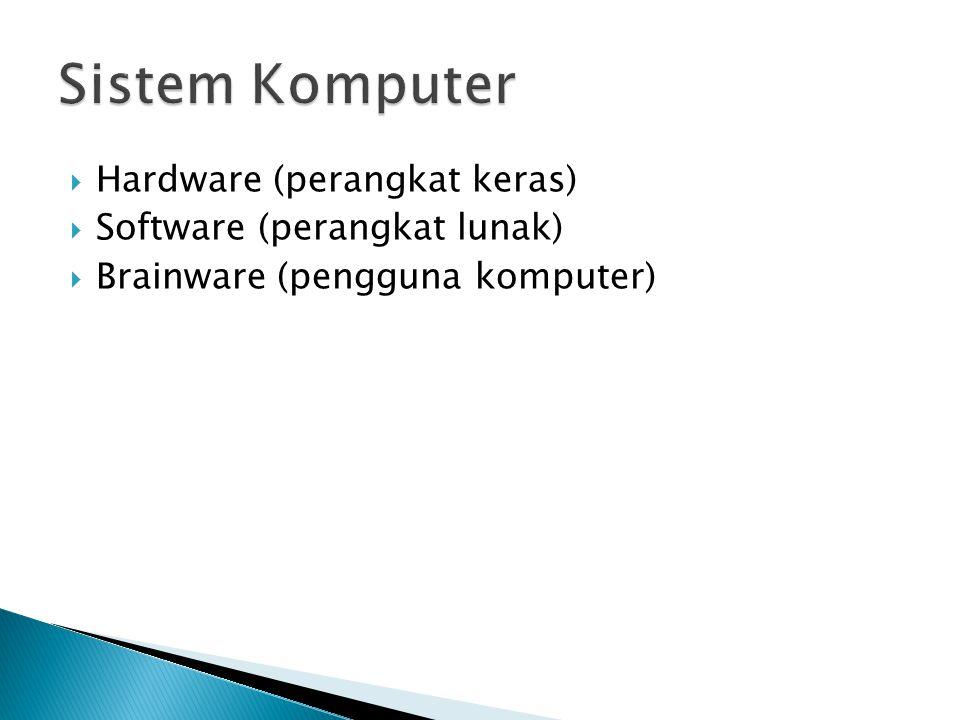  Hardware (perangkat keras)  Software (perangkat lunak)  Brainware (pengguna komputer)