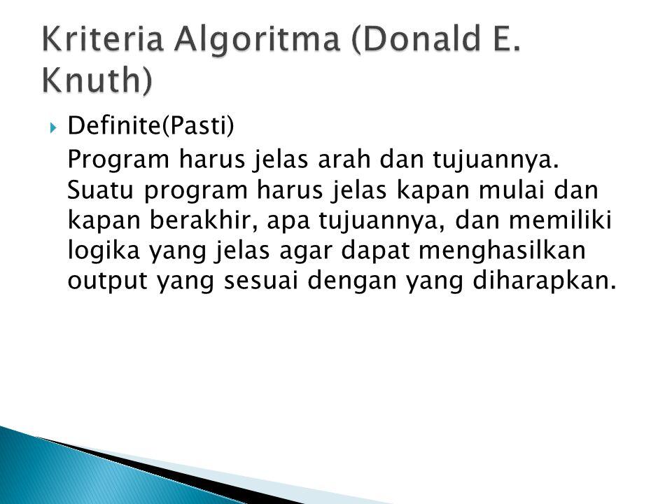  Definite(Pasti) Program harus jelas arah dan tujuannya.