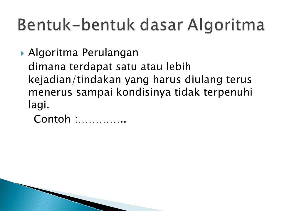 Algoritma Perulangan dimana terdapat satu atau lebih kejadian/tindakan yang harus diulang terus menerus sampai kondisinya tidak terpenuhi lagi.