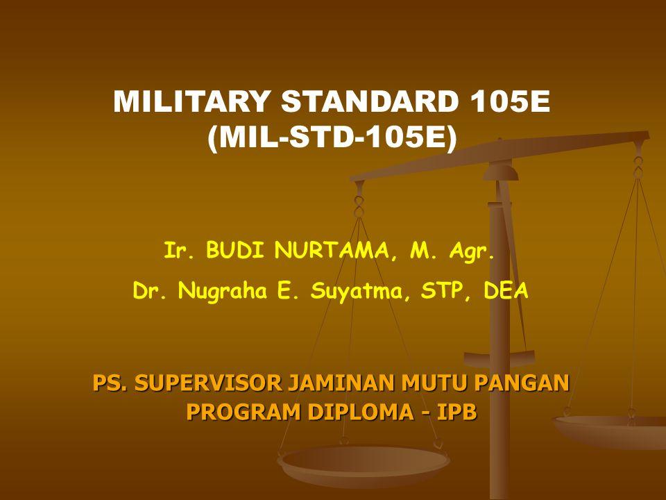 MIL-STD-105E Suatu sistem rencana penarikan sampel atribut (attribute acceptance sampling plan) Dikembangkan dari tabel-tabel inspeksi sampel untuk Army Ordnance, US selama PD II 1950 – 1963 : 105A, B, C 1963 – 1989 : 105D 1989 – sekarang : 105E diadopsi :- US = ANSI/ASQC Z1.4 - Internasional = ISO 2859 Berisi single, double, multiple sampling plans yang berindeks AQL.