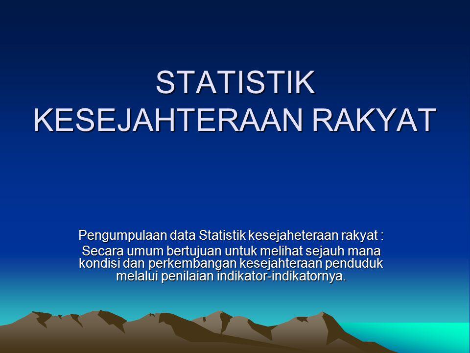 STATISTIK KESEJAHTERAAN RAKYAT STATISTIK KESEJAHTERAAN RAKYAT Pengumpulaan data Statistik kesejaheteraan rakyat : Secara umum bertujuan untuk melihat