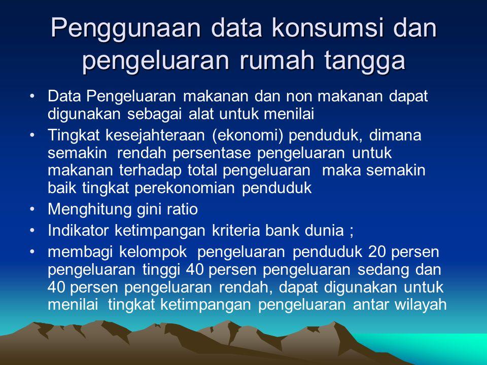 Penggunaan data konsumsi dan pengeluaran rumah tangga Data Pengeluaran makanan dan non makanan dapat digunakan sebagai alat untuk menilai Tingkat kese