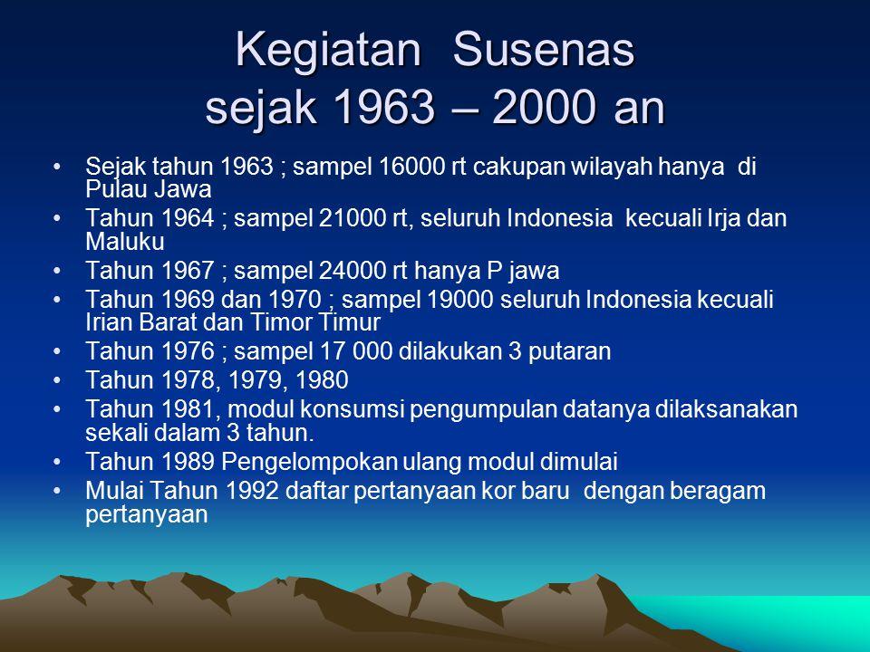 Kegiatan Susenas sejak 1963 – 2000 an Sejak tahun 1963 ; sampel 16000 rt cakupan wilayah hanya di Pulau Jawa Tahun 1964 ; sampel 21000 rt, seluruh Ind