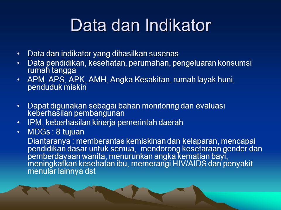 Data dan Indikator Data dan indikator yang dihasilkan susenas Data pendidikan, kesehatan, perumahan, pengeluaran konsumsi rumah tangga APM, APS, APK,