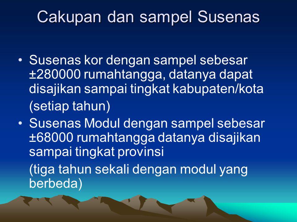 Cakupan dan sampel Susenas Susenas kor dengan sampel sebesar ±280000 rumahtangga, datanya dapat disajikan sampai tingkat kabupaten/kota (setiap tahun)