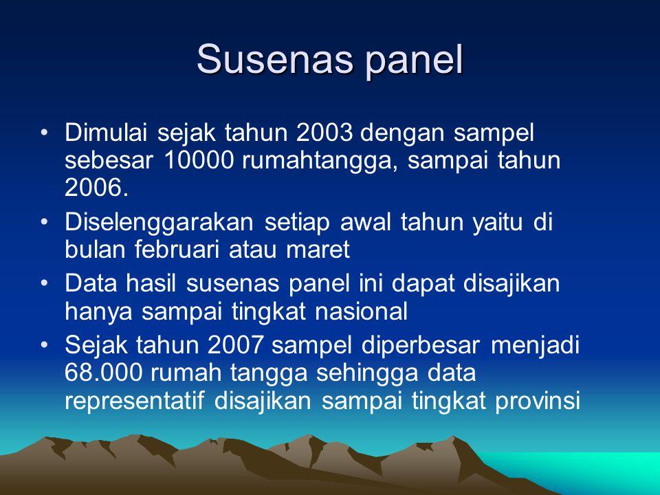 Susenas panel Dimulai sejak tahun 2003 dengan sampel sebesar 10000 rumahtangga, sampai tahun 2006. Diselenggarakan setiap awal tahun yaitu di bulan fe