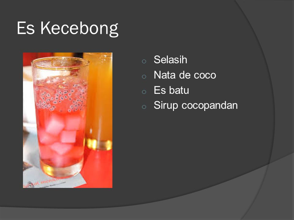 Es Kecebong o Selasih o Nata de coco o Es batu o Sirup cocopandan