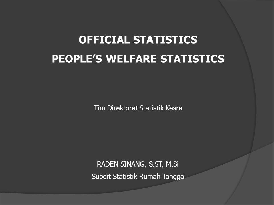 OFFICIAL STATISTICS PEOPLE'S WELFARE STATISTICS Tim Direktorat Statistik Kesra RADEN SINANG, S.ST, M.Si Subdit Statistik Rumah Tangga