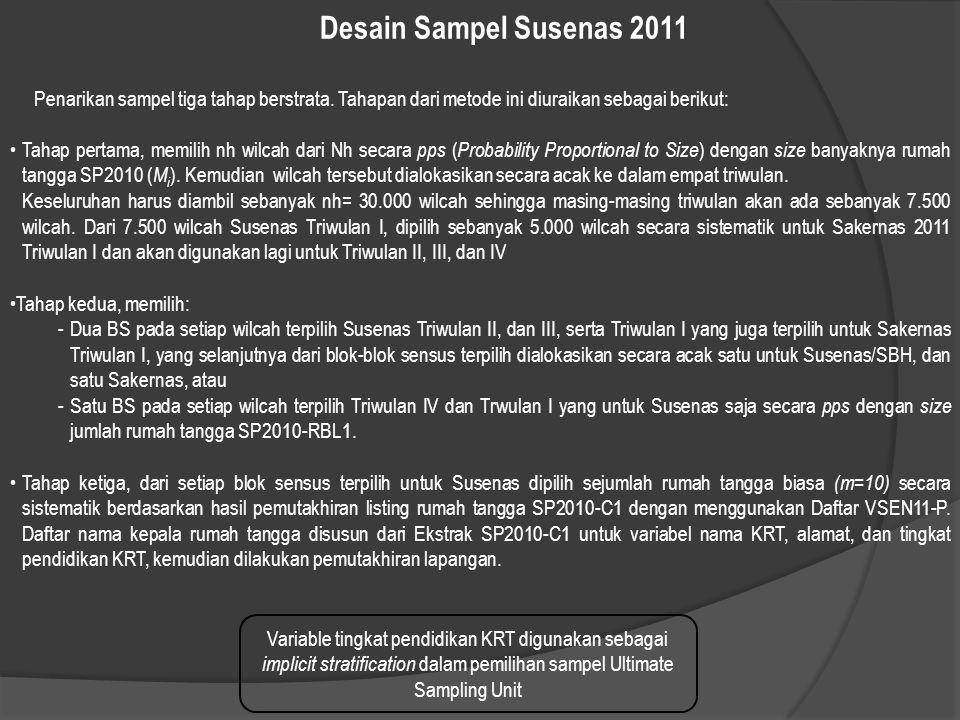 Desain Sampel Susenas 2011 Penarikan sampel tiga tahap berstrata. Tahapan dari metode ini diuraikan sebagai berikut: Tahap pertama, memilih nh wilcah
