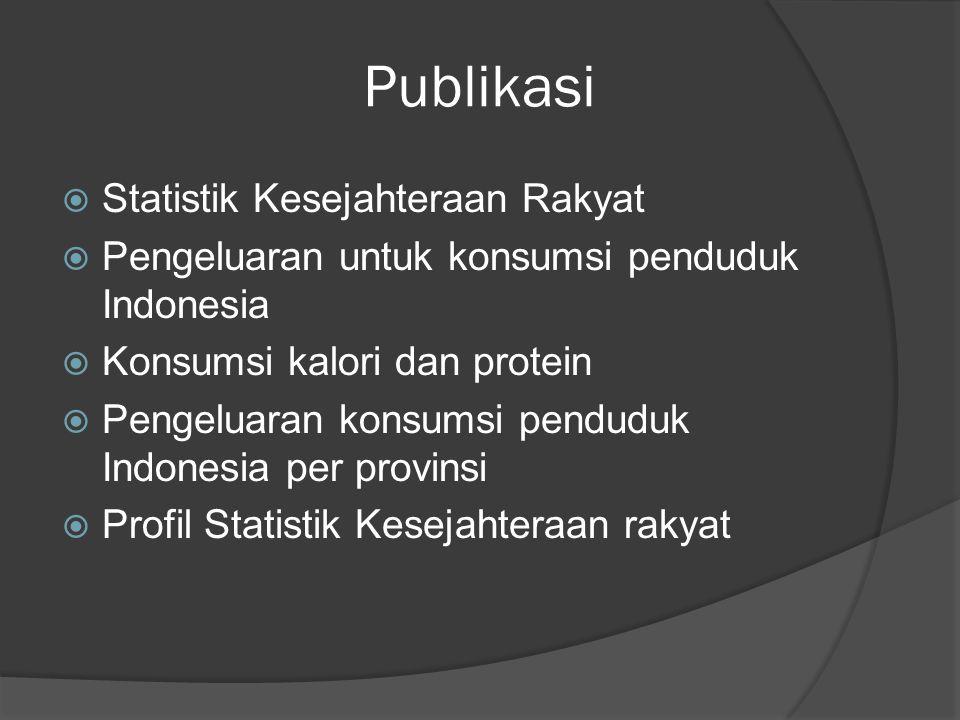 Publikasi  Statistik Kesejahteraan Rakyat  Pengeluaran untuk konsumsi penduduk Indonesia  Konsumsi kalori dan protein  Pengeluaran konsumsi pendud