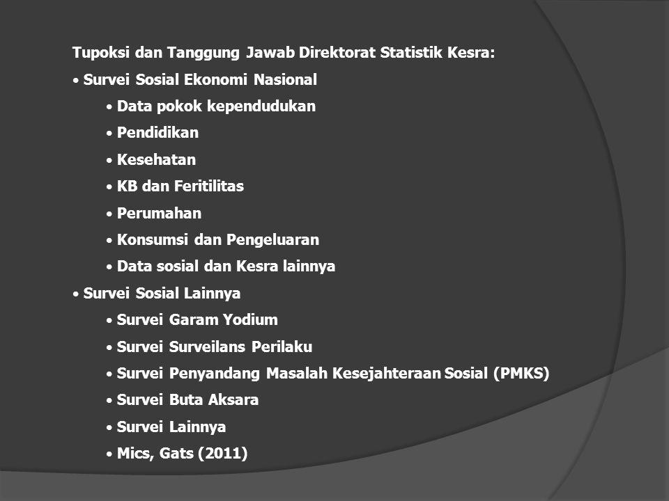 Tupoksi dan Tanggung Jawab Direktorat Statistik Kesra: Survei Sosial Ekonomi Nasional Data pokok kependudukan Pendidikan Kesehatan KB dan Feritilitas