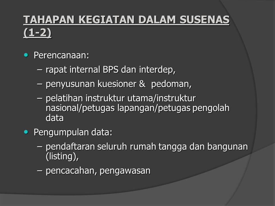 TAHAPAN KEGIATAN DALAM SUSENAS (1-2) Perencanaan: Perencanaan: –rapat internal BPS dan interdep, –penyusunan kuesioner & pedoman, –pelatihan instruktu