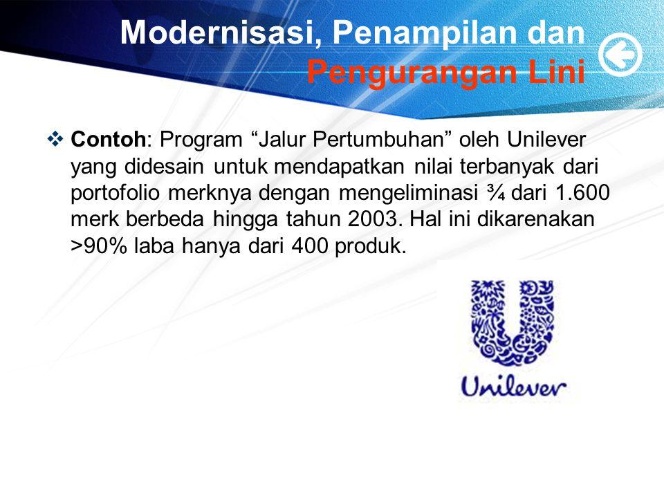 Modernisasi, Penampilan dan Pengurangan Lini  Contoh: Program Jalur Pertumbuhan oleh Unilever yang didesain untuk mendapatkan nilai terbanyak dari portofolio merknya dengan mengeliminasi ¾ dari 1.600 merk berbeda hingga tahun 2003.