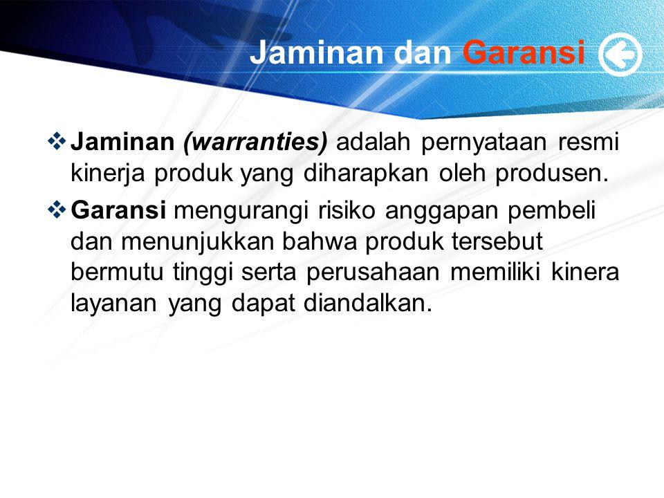 Jaminan dan Garansi  Jaminan (warranties) adalah pernyataan resmi kinerja produk yang diharapkan oleh produsen.  Garansi mengurangi risiko anggapan