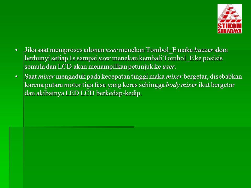 Jika saat memproses adonan user menekan Tombol_E maka buzzer akan berbunyi setiap 1s sampai user menekan kembali Tombol_E ke posisis semula dan LCD ak