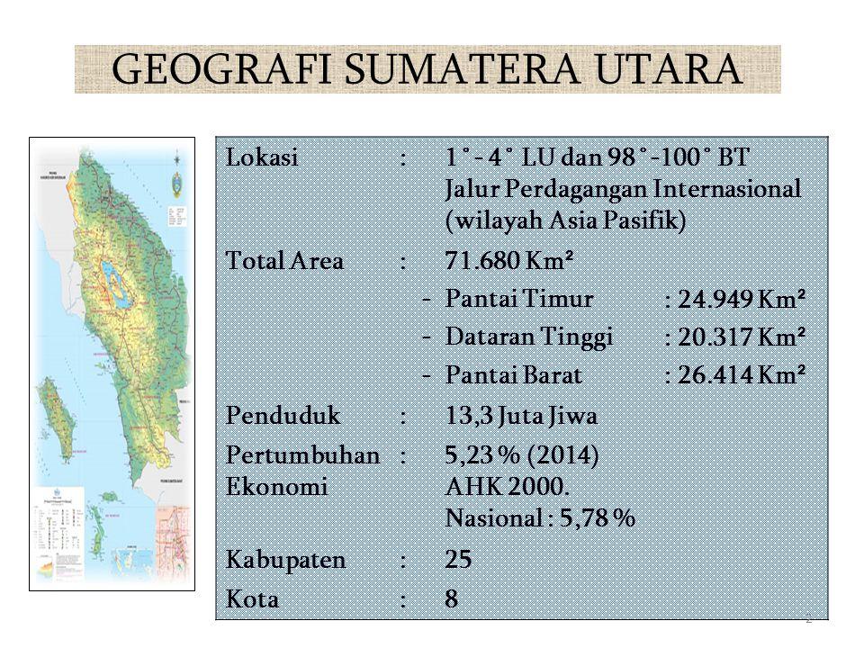GEOGRAFI SUMATERA UTARA Lokasi:1˚- 4˚ LU dan 98˚-100˚ BT Jalur Perdagangan Internasional (wilayah Asia Pasifik) Total Area: ------ 71.680 Km ² Pantai