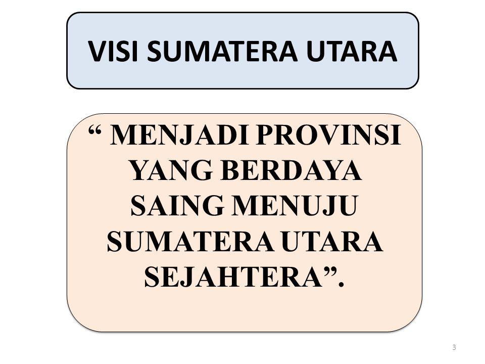 """3 VISI SUMATERA UTARA """" MENJADI PROVINSI YANG BERDAYA SAING MENUJU SUMATERA UTARA SEJAHTERA""""."""