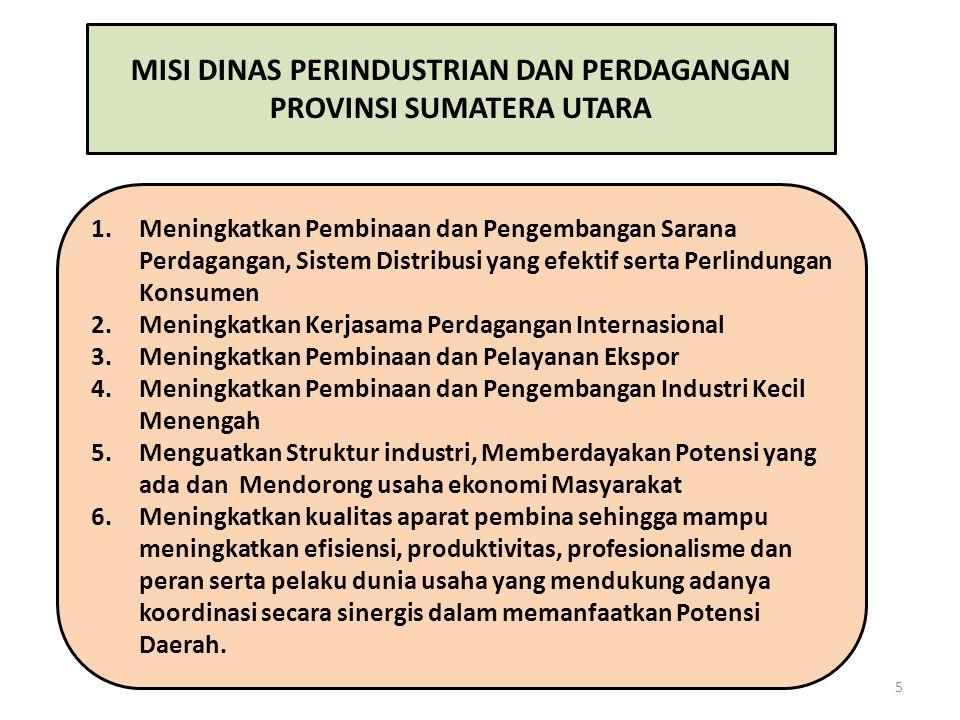 MISI DINAS PERINDUSTRIAN DAN PERDAGANGAN PROVINSI SUMATERA UTARA 1.Meningkatkan Pembinaan dan Pengembangan Sarana Perdagangan, Sistem Distribusi yang