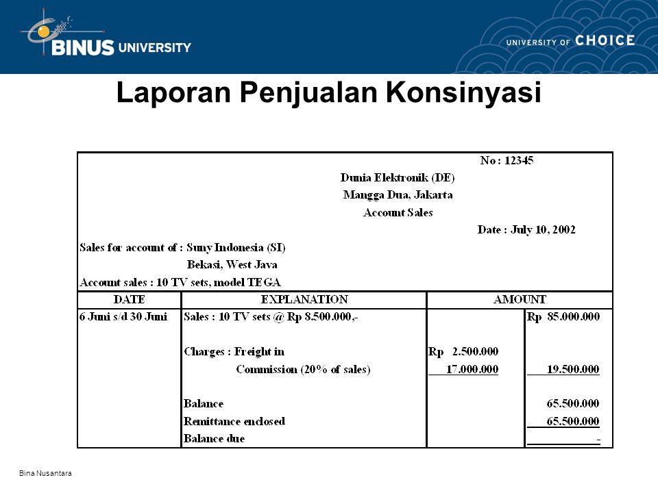 Bina Nusantara Laporan Penjualan Konsinyasi