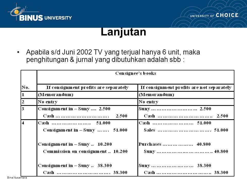 Bina Nusantara Lanjutan Apabila s/d Juni 2002 TV yang terjual hanya 6 unit, maka penghitungan & jurnal yang dibutuhkan adalah sbb :