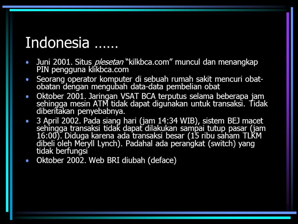 """Indonesia …… Juni 2001. Situs plesetan """"kilkbca.com"""" muncul dan menangkap PIN pengguna klikbca.com Seorang operator komputer di sebuah rumah sakit men"""