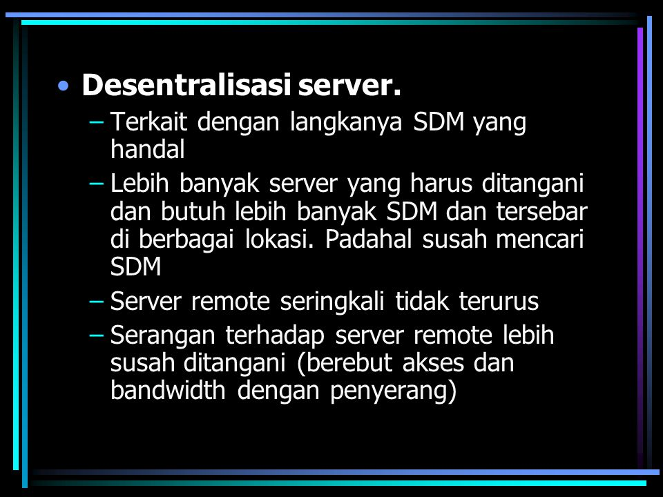 Transisi dari single vendor ke multi- vendor.